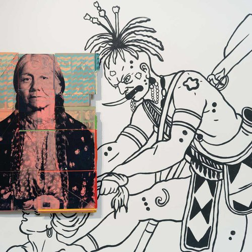 Socially conscious art regarding the history of Native Americans.