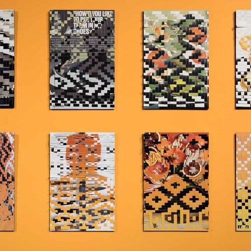 Series of portraits in various range of orange on woven paper.