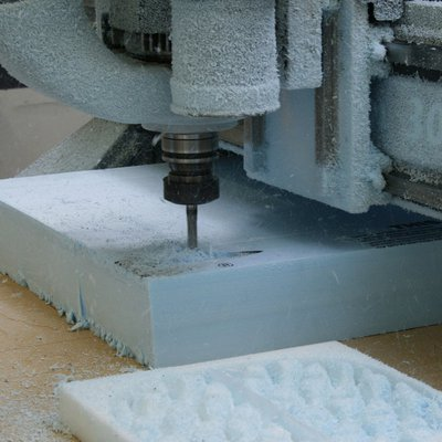 Router machine cutting styrofoam to make prototype_feature_MB