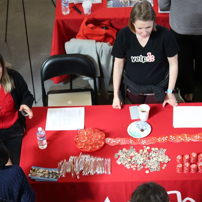 The Yelp booth at the 2018 Career Expo