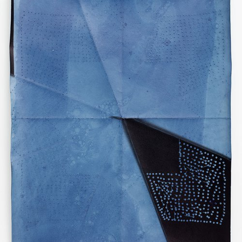 Aspen Mays, O'Keeffe, 2016. Gelatin silver photogram with indigo dye, 20 x 24 inches.