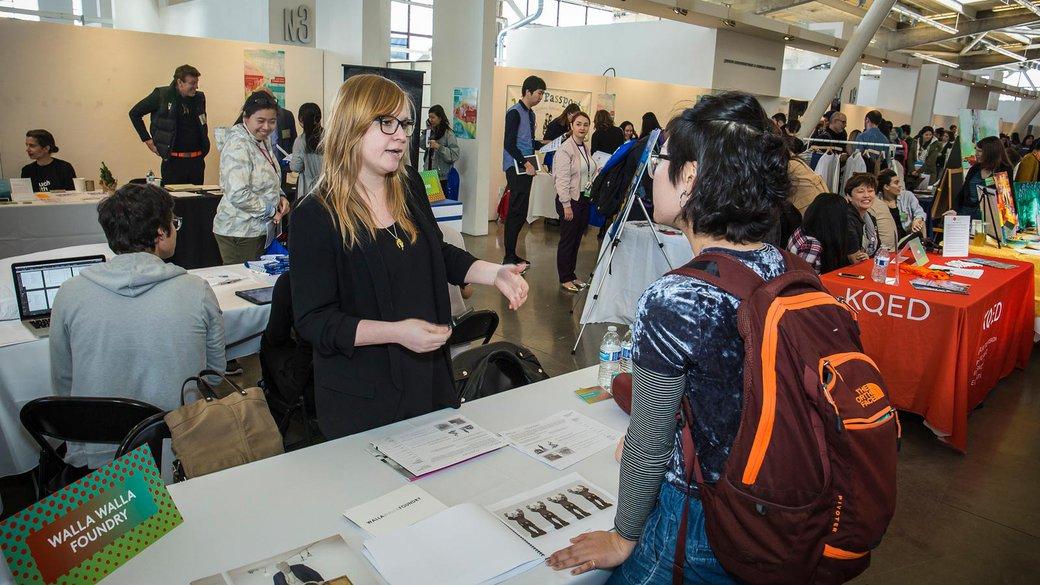 Student at the career fair, 2017