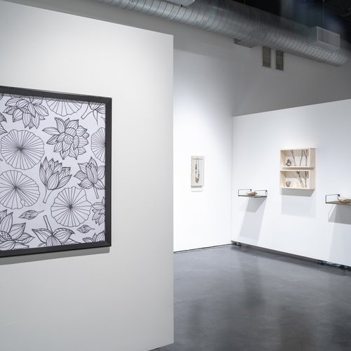 Installation view of Ersi Zhang's Senior Thesis Exhibition at the Oliver Art Center in April 2019