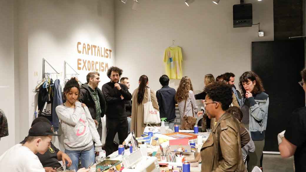 "CCA fine arts students lead a ""Capitalism Exorcism"" activation in the Hubbell Street Galleries_feature_MB"