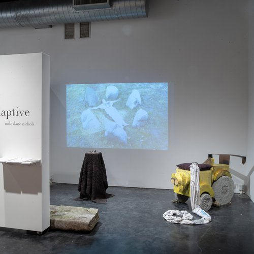 Installation view of Milo Dane Nichols' Senior Thesis Exhibition at the Oliver Art Center in April 2019