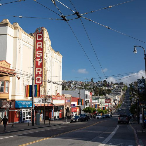 The Castro District in the middle of the city is a destination for local culture and the LGBTQIA+ community. Visit the historic Castro Theatre, shop at local stores, ride the cable car, and take in views of the water.