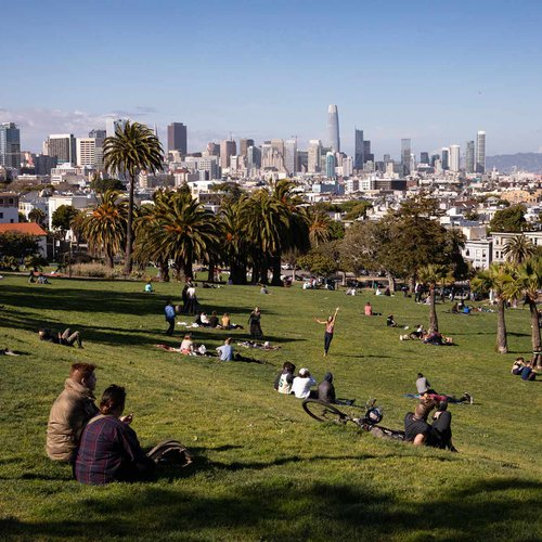 Dolores Park is a popular study spot and gathering place.