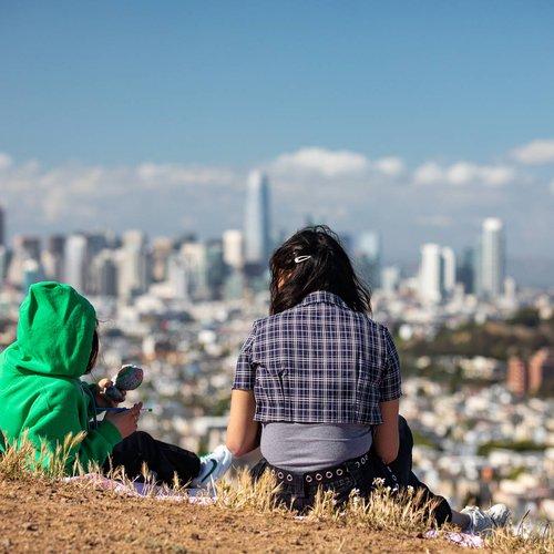 Bernal Heights hill overlooks the San Francisco skyline.