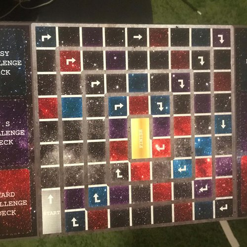 A galaxy-inspired board game by students Marissa Aventi, Henry Rivera, and Destinee Bailey for the Gaming and Play course.