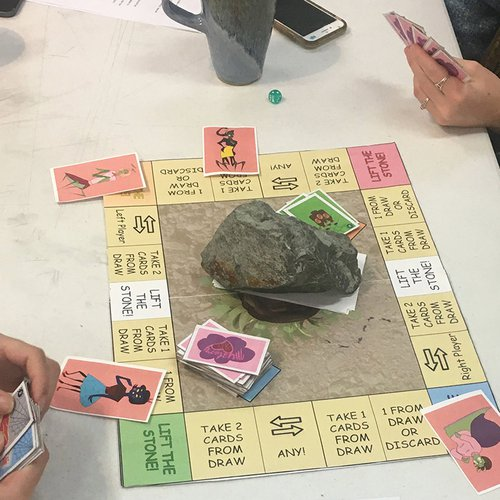 Playing Mystery Bait, a game by students Megan Chen, Eli Chang, Scott Underwood, and Tyler De Rosa.