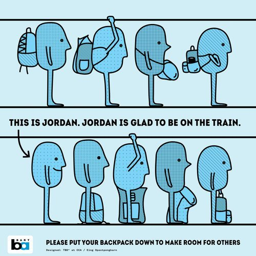 "Illustrated Bart poster of people on Bart Train. Row of people on top have their backpacks on. Row of people on bottom do not have backpacks on and the text next to an individual says: ""This is Jordan. Jordan is Glad to be on the Train"""
