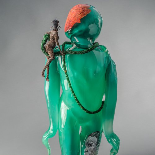 Joyce J. Scott, Buddha (Earth), 2013. Hand-blown Murano glass processes with beads, wire, thread, 27 1/2 x 11 1/4 x 11 1/2 inches. Courtesy Goya Contemporary Gallery, Baltimore