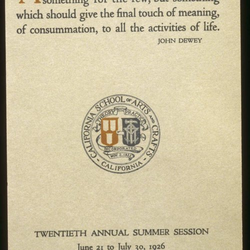 CCA History: Annual Summer Session Invite from 1926