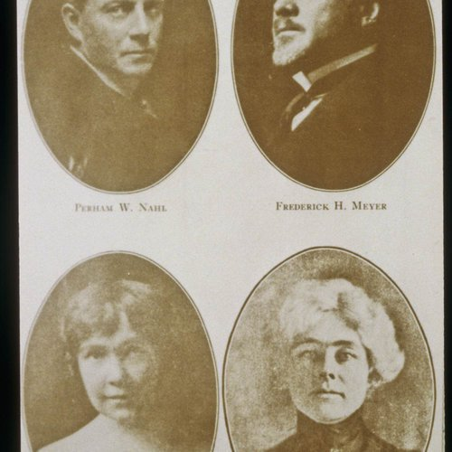 CCA History: Old portraits of founders Perham W. Nahl and Frederick H. Meyer, plus some additional graduates.