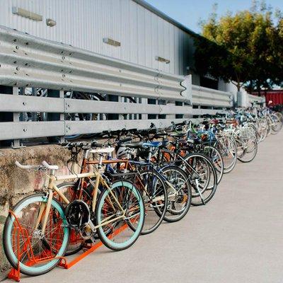 Flurry of bikes at the San Francisco campus grad center.