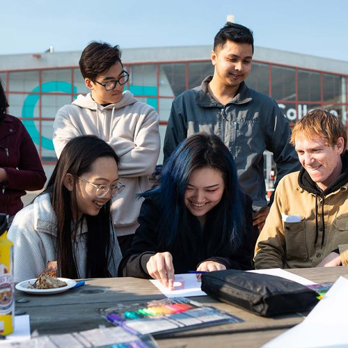 Students work together on CCA's Backlot during faculty Shalini Agrawal's Radical Redesign class.