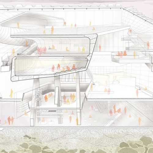 Eve Tobey, Architecture Studio 3, 2022. Sectional. Courtesy of the Artist.