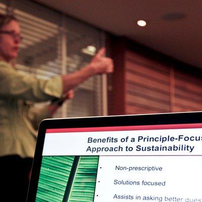 Speaker during the Fashion Sustainability workshop.
