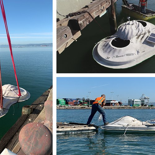 CCA Float Lab prototype being deployed in the San Francisco Bay.