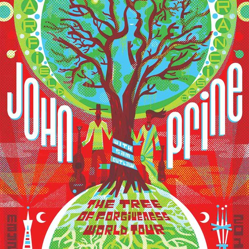 Poster art for John Prine's The Tree of Forgiveness Tour. By Michael Wertz.