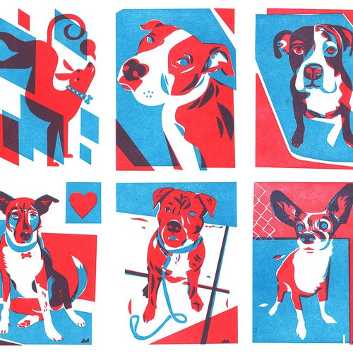 Letterpress greeting cards to raise awareness for (and starring the dogs of) East Bay Animal Shelters. By Michael Wertz.