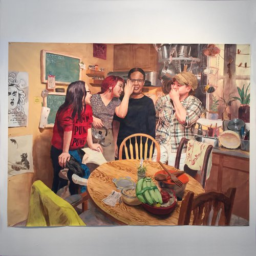 Painting depicting some people standing in a kitchen