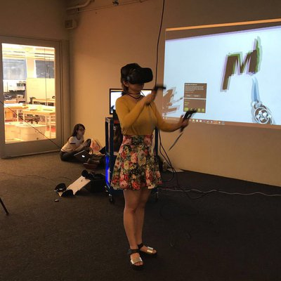 Students working on virtual reality projects in the CCA San Francisco VR Lab