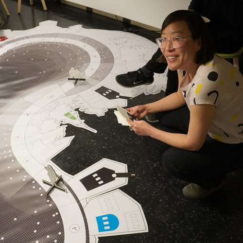 Janette Kim leading a Bartertown game night at MIT Architecture, March 2020.