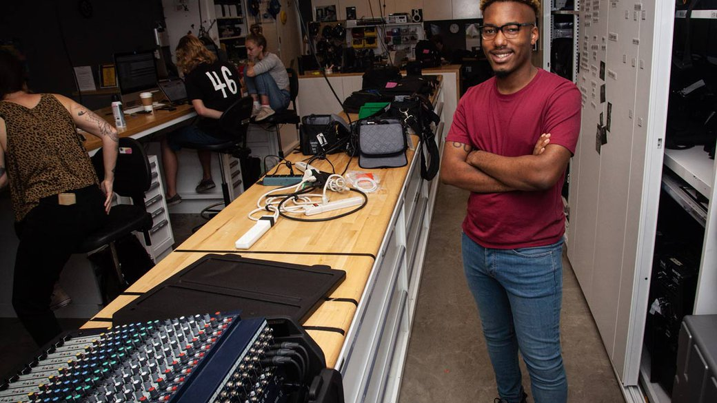 Film student, and scholarship recipient Lamont gives us a tour os his studio.