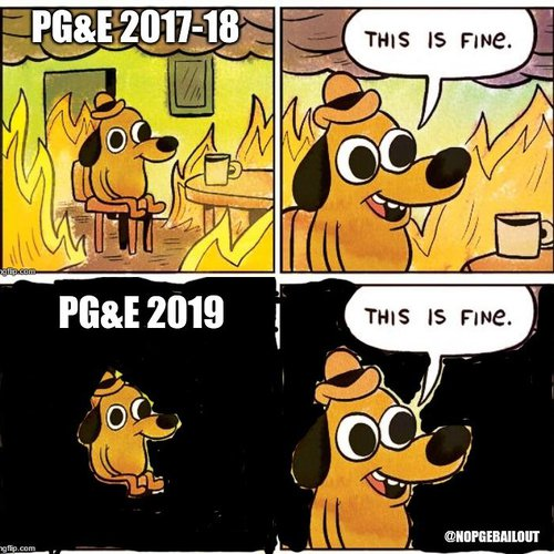 Meme based on KC Green's Question Hound from Gunshow comic. Shared during a class visit with No PG&E Bailout organizer.