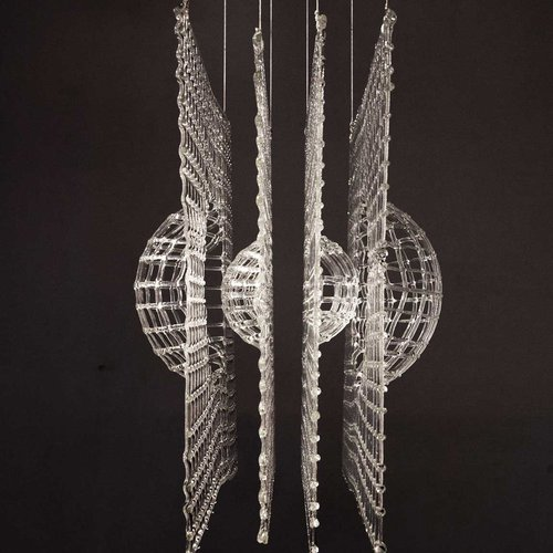 Sideview of Harsh Nowlakha's suspended glass sculpture,
