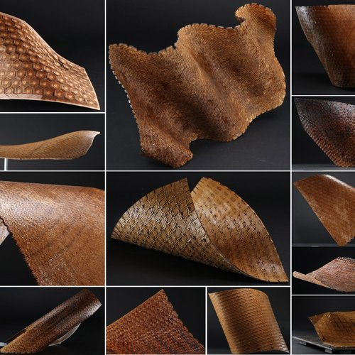 Multiple flexible wood panels with Negative and Positive curvature regions, which are obtained with the team's software.