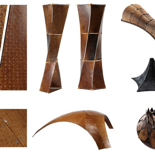 Examples of physical shapes constructed in an architectural design studio at Texas A&M using multiple flexible wood panels that are obtained with the team's software. The original flexible panels are fixed later by applying epoxy.