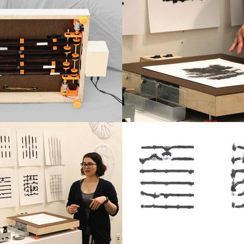 Sarah Bonnickson, Archive ,2020. Wood, 3D prints, magnets, fabric belts, motors, power supply. Courtesy of the artist.