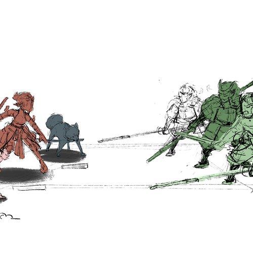 An early sketch of a battle scene from Harukaze.