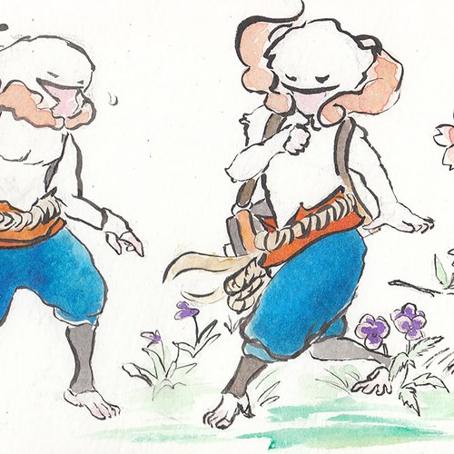 An early watercolor sketch of Masaharu, one of Harukaze's martial arts–fighting monkey-spirit siblings, from 2014.