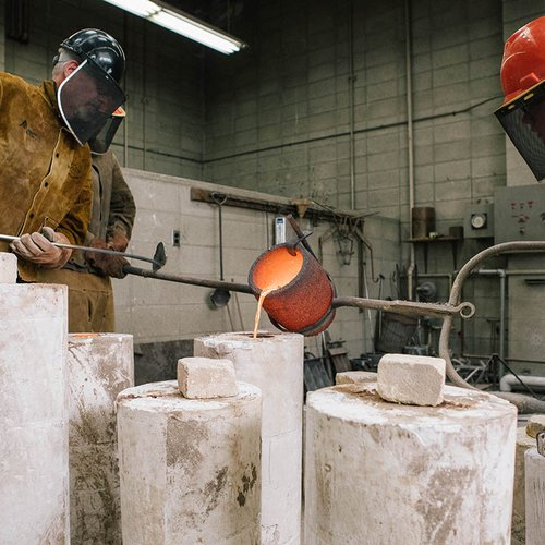 We're one of the few colleges in the U.S. that still has a traditional foundry for casting bronze, aluminum, iron, pewter, and other metals.