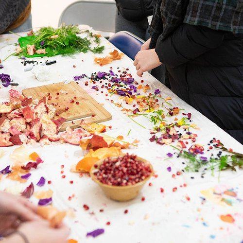 Nature will always be a source of inspiration—and material. Here are students creating natural dyes from the campus garden.