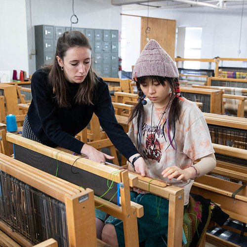 Our Weaving Studio has 32 floor looms and equipment for digital weaving on Jacquard looms.