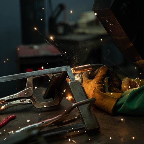 So metal. Sparks fly in the high-heat welding process, which melts together various parts of a constructed piece.