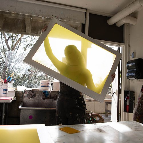 A screenprinting screen transfers ink so you can create graphic artwork on textiles, posters, and other materials.