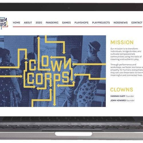 Design for Clown Corps by Amanda Lee (BFA Graphic Design 2021) and Kajri Popat (BFA Graphic Design 2021), 2020.