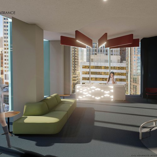 Conor Daly (BFA Interior Design 2021), U+S, fall 2020. Doctor's office entrance rendering, a reimagined healthcare experience.