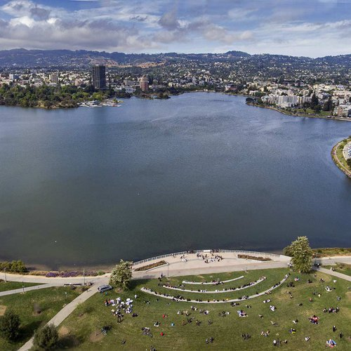 Near downtown Oakland, the Lake Merritt Amphitheater is a place for concerts, protests, and social gatherings.