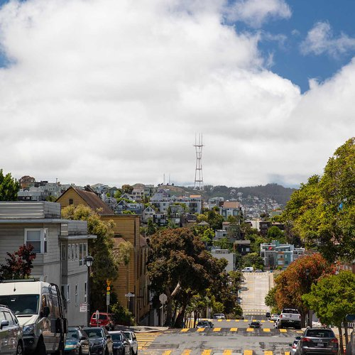 San Francisco is known for epic hills and steep streets, so bring your walking shoes to check out spots like Sutro Tower (which is the antenna tower seen here on the San Francisco skyline).