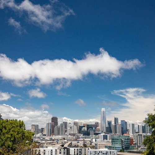 Take in a view of the downtown San Francisco skyline from Bernal Heights Hill.