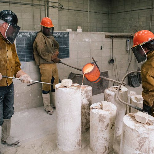 CCA is one of the few remaining art colleges in the U.S. that operates a traditional foundry. Our facility features 90- and 60-pound capacity furnaces, burn-out kilns, wax-working stations, a sandblaster, patina torch, and a one-ton overhead swivel crane.