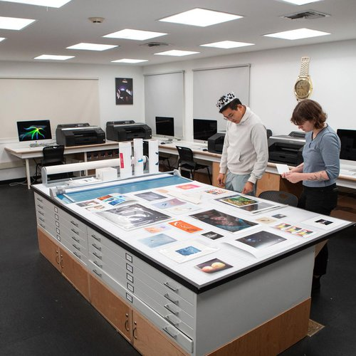 In the Digital Fine Arts Studio, students gain hands-on experience with digital printing.