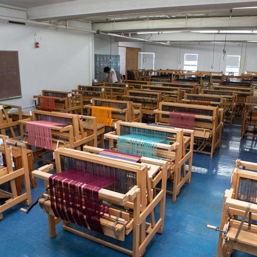 The Weaving Studio has 35 floor looms, including two computer-operated TC2 jacquard looms. CCA is one of only a handful of art colleges in the U.S. that teaches digital weaving using jacquard technology.