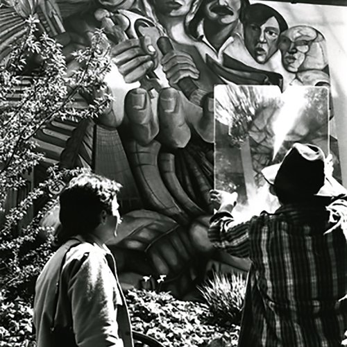 Student mural on campus completed December 1981. Photo by Farhad Heshmati.